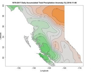 Map of BC showing daily accumulated total precipitation anomaly (%) relative to 1979 to 2017.