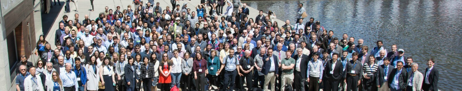 Photograph of 243 members of CMOS taken in Nathan Phillips Square at the annual congress, June 2017.