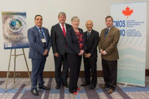 Photograph of five people taken at the opening ceremonies of the 51st annual CMOS congress. From let are Mr. Ron Bianhi, Minister Glen Murray, Ms. Bernadette Jordan, Prof. Roger Wakimoto and Mr. Martin Taillefer