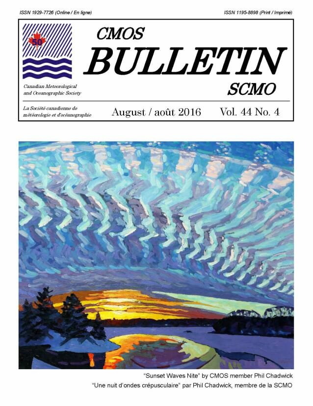 Front cover of Volume 44 Number 4 of the CMOS Bulletin SCMO, August 2016. Cover shows a painting by Phil Chadwick. Read cover story on page 2 for full description.