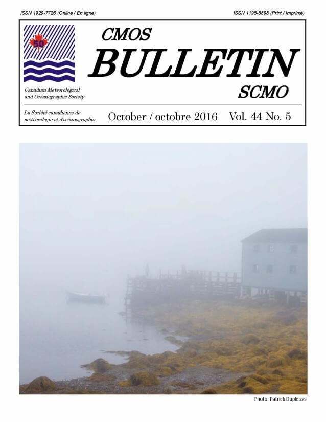 Cover of the CMOS Bulletin SCMO Cover, Vol. 44 No. 5, October 2016. Image shows a very foggy coastline, with a pebbled shoreline filled with piles of seaweed in the foreground, and a wooden building and small wharf just behind.