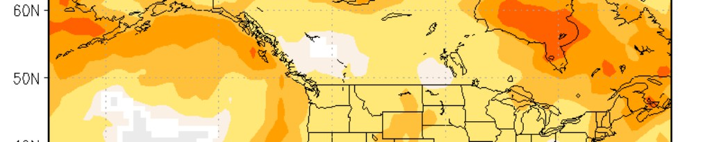 Image shows a section of a map of southern Canada, from west to east, coloured with various shades of grey, white, yellow, orange and red. The colours indicate the forecasted temperature for autumn 2017 in Canada, with the predominance of warmer colours indicating a strong probability that in most areas temperatures will be above normal.
