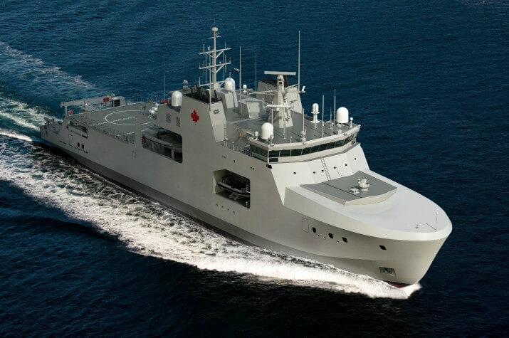 Computer generated image of a large grey ship, with a helicopter pad on the stern, travelling through water.
