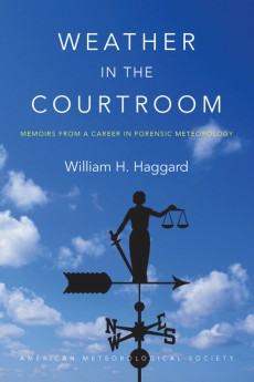 "Cover image of the book ""Weather in the Courtroom"" shows a photograph of a weather vane topped with a figure holding a set of scales. Blue sky in the background."