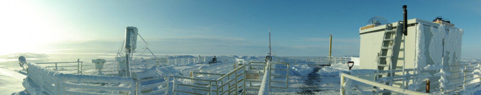 "A panorama of the roof deck of the Ridge Laboratory taken late in the summer showing the air intake for the atmospheric sampler left of centre and the ""penthouse"" housing many upper atmosphere sounders on the right. (Photo credit: Pierre Fogal)"