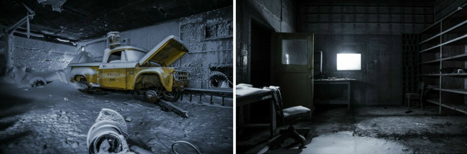 "Two photos from the abandoned Isachsen weather station. The first shows an old yellow pick up truck, with the word ""Isachsen"" printed on the side. It sits in a frozen room covered in snow with the hood up. The second shows an empty frozen office, with some shelving, a desk and an office chair."