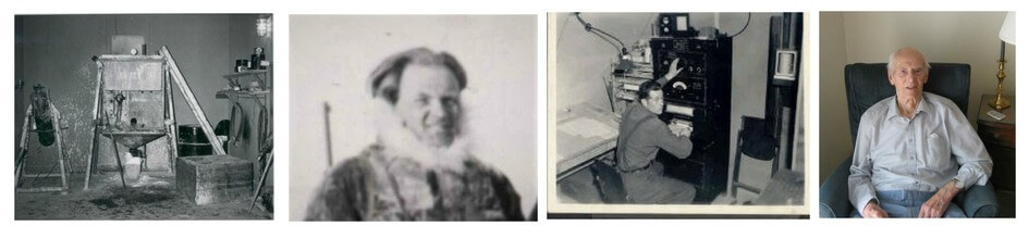 Four photos, the first three are old black and white photos. The first shows an old piece of equipment, the Hyrdogen Generator. The second shows a caucasian man warmly dressed, head and shoulders only, Per Stoen. The third is a young Jud Courtney and the fourth is Jud Courtney, as an elderly man, in his home.