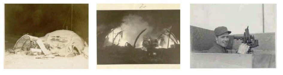 Three black and white images. The first two show a building on fire. The third shows a young man operating a piece of equipment at Eureka.