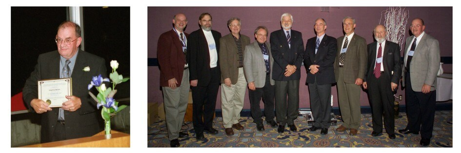 Two photos. On left is a middle aged caucasian man holding a framed certificate On the right is a group of nine men, all past presidents of CMOS, including Phil Merilees.
