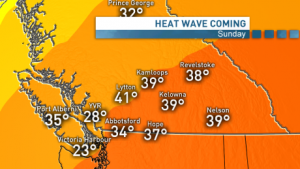 Image shows a forecast map of western canada. Colours are all shades of orange with temperatures up to 41 degrees celsius