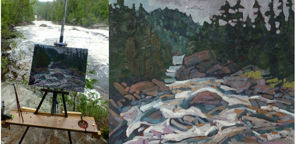 Two images, the first shows the painting Morning on the Grand Chute as a work in progress, canvas and easel set up as Phil Chadwick paints en plein air beside a river. The second image is the finished painting.