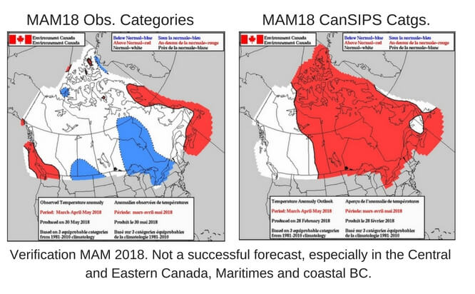 Image shows two images, maps of Canada, and the accuracy of the forecast predictions for the seasonal outlook for Spring 2018.