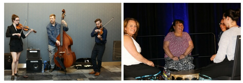 Scenes from the 2018 CMOS Congress in Halifax. The first photo shows a three piece string band. The second a group of four women in a circle with drums.