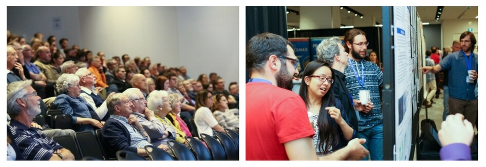 Two photos from the 2018 CMOS Congress in Halifax. The first shows the audience in a full lecture theatre. The second shows people gathered in conversation around scientific posters.