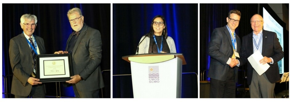Three photos from the 2018 CMOS congress in Halifax. The first shows one man receiving an award from another. The second a woman at a podium. The third two men, smiling and shaking hands.