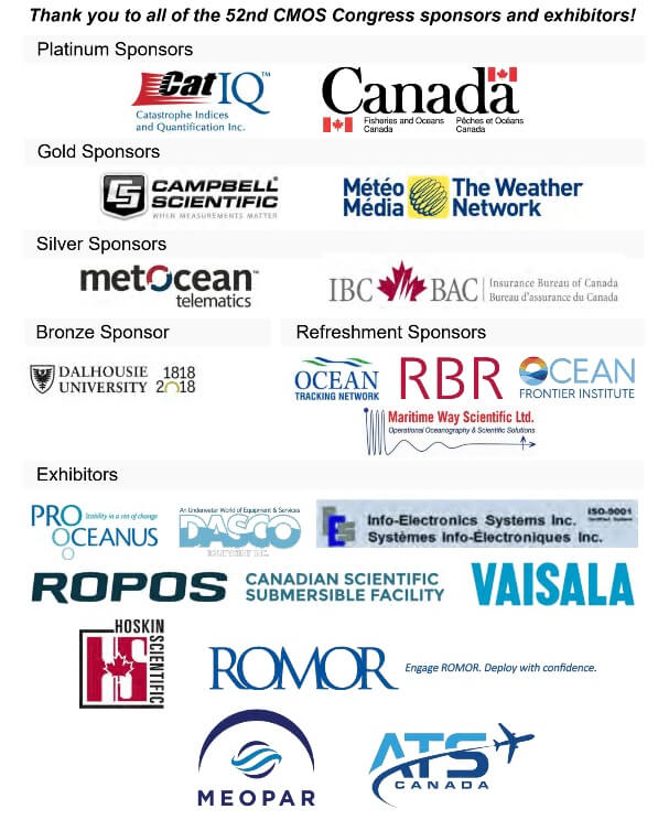 Image shows the logos of all of the CMOS congress sponsors and exhibitors