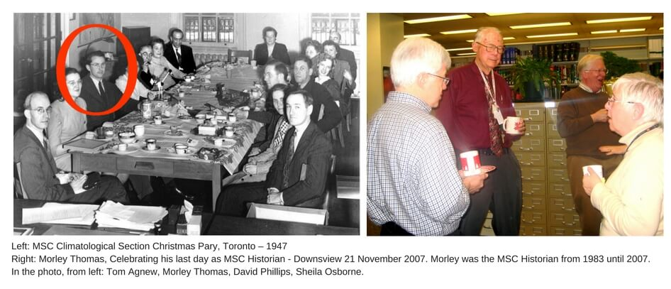 Two photos showing Morley at various CMOS events with other CMOS members.