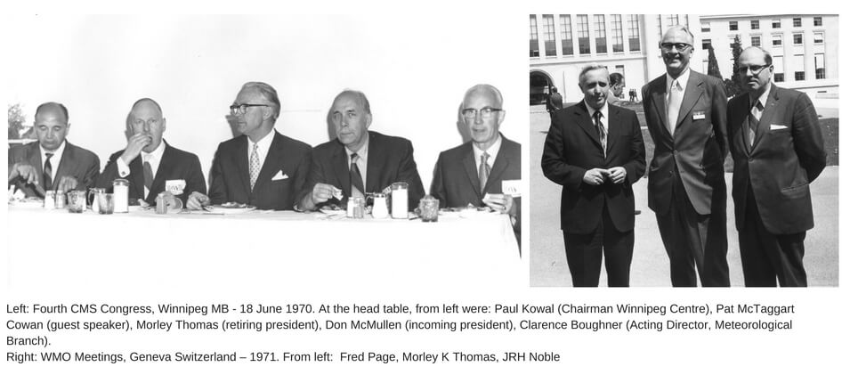 Two photos showing Morley Thomas at international meteorological events.