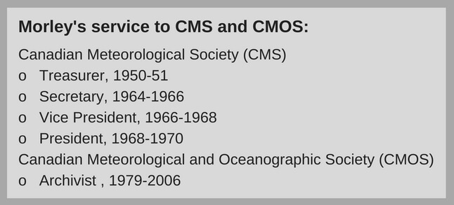 Text box outlining Morley Thomas's contribution to CMOS on the executive committee in various roles including treasurer, secretary, vice-president, president, and archivist.