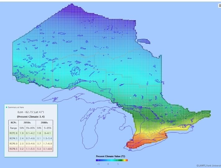 Sample OCDP map showing colours ranging from red to yellow to green to blue as you go from southern ontario to northern ontario.