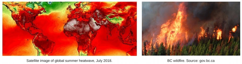 Two photos from Top Ten Weather Stories of 2018 by David Phillips. First one shows a satellite image of the earth, as a map, with temperatures displaying bright red over most of the earth. Second one shows a forest on fire.