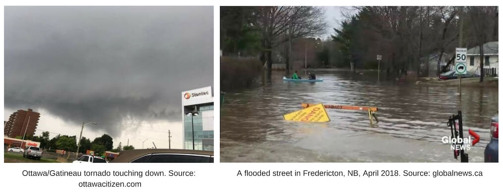 Two images for Top Ten Weather Stories of 2018. First one shows a dark sky, city streets, with a tornado in the distance. Second one shows a flooded tree lined city street.