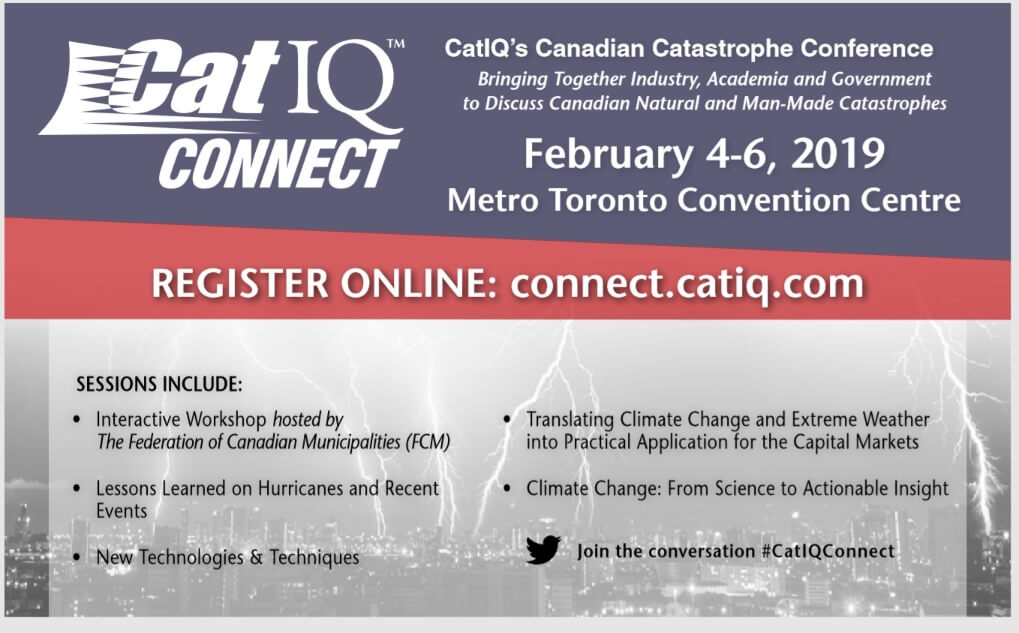 Advertisement for CatIQ's Connect conference for catastrophes and insurance industry