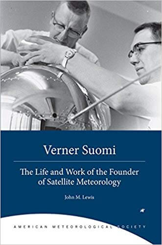 Cover of Verner Suomi book shows black and white image of man with a large metallic globe shaped instrument
