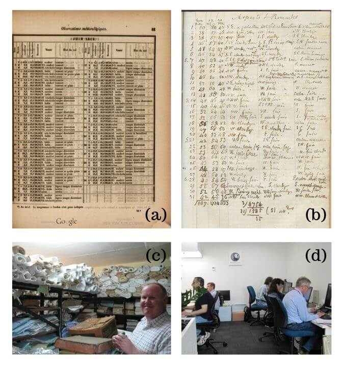Figure showing pages of archived weather data for DRAW project, and photographs of scientists surrounded by rolls of data and computers.