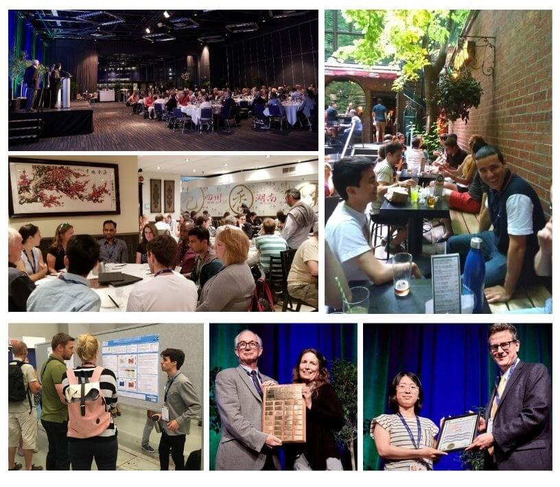 photos from the IUGG General assembly shows CMOS members, networking, receiving awards, and in the banquet hall.