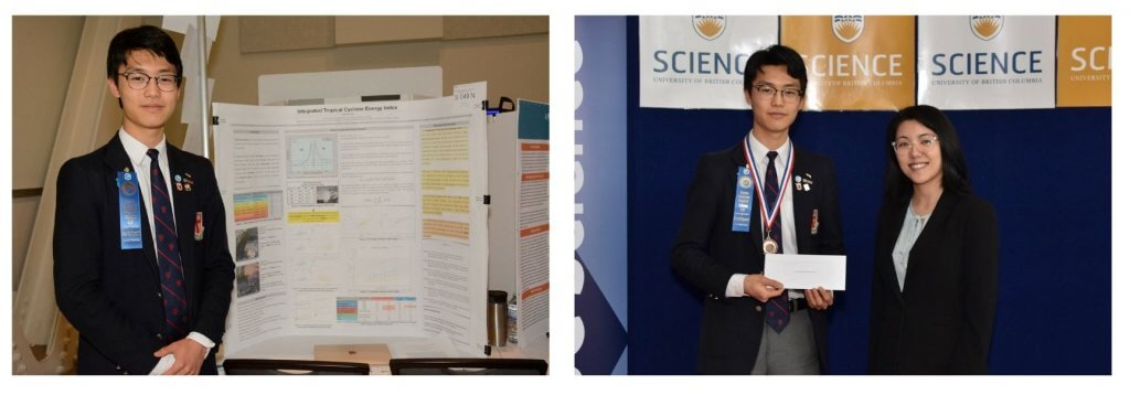 TWo photos of Haowen Qin at the science fair