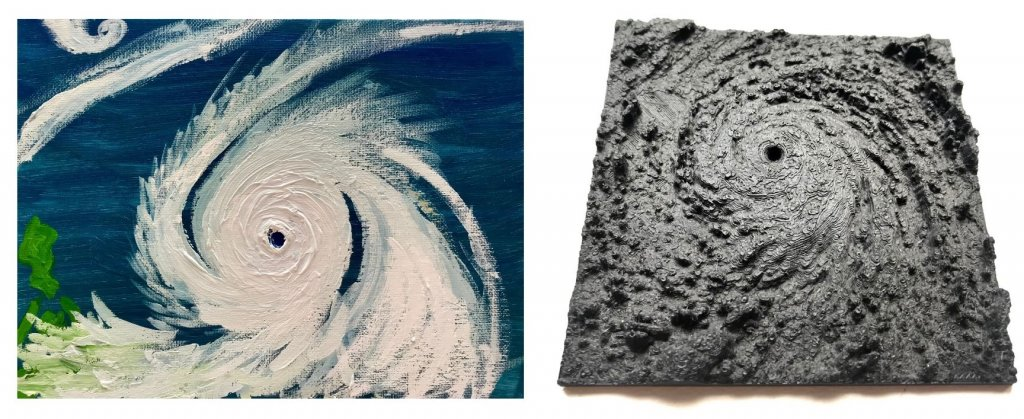 Two photos showing Haowen's painting of a typoon, and 3-D printing of a Hurricane Katrina.