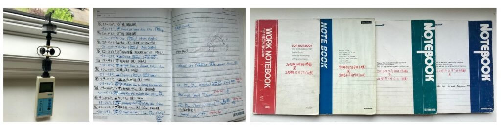 Three photos, showing a handheld weather recording device, an open page of data and writing, and several closed log books.