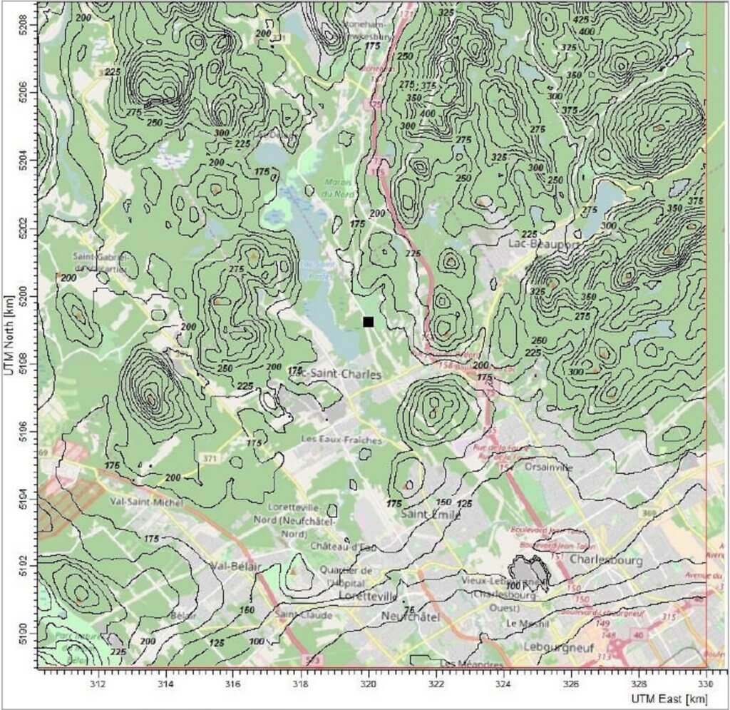 A topographical map of the research study area around Lac Saint-Charles