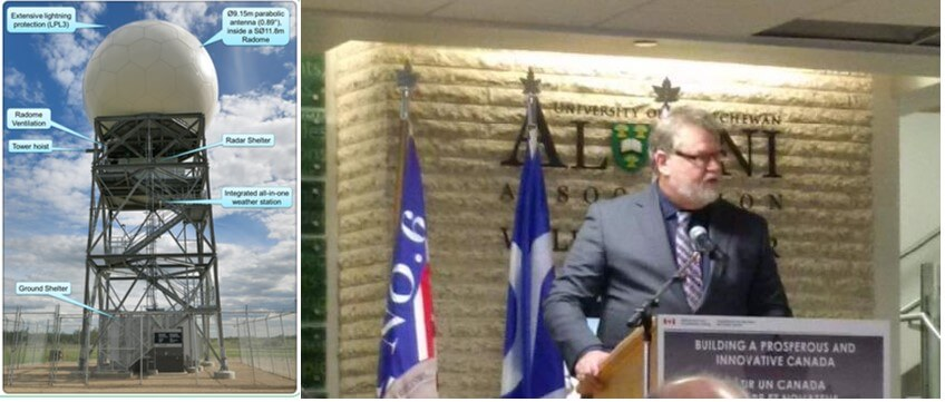 Shows two photos. Metal structure with white spere on top, outside, blue sky behind. Other photo is David Grimes, caucasian male, at an official looking podium.