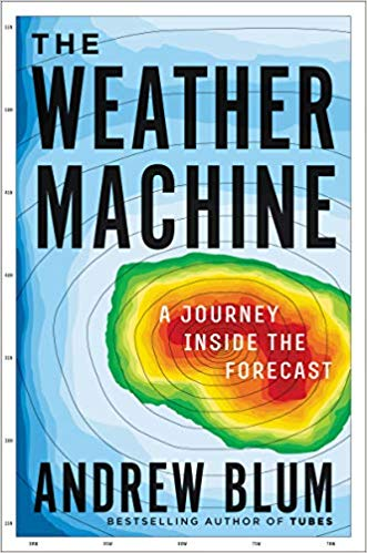 Cover of the Weather Machine shows barotropic lines, with blue on the edges to red in the centre, as in a weather forecast.