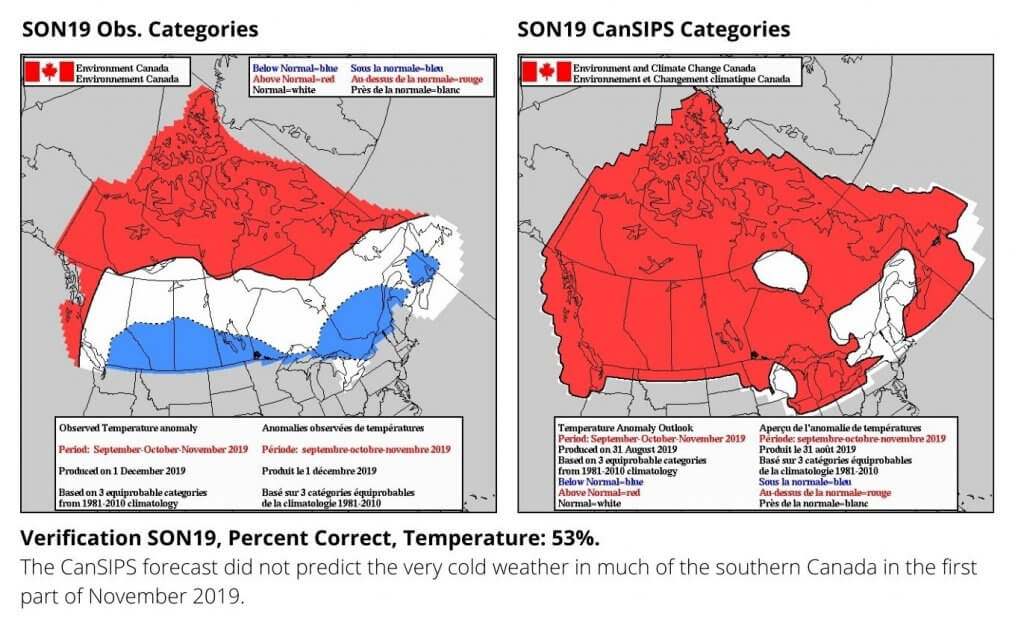 Maps showing the verification of the autumn forecast