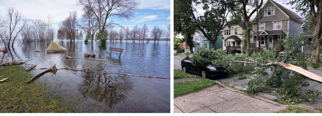 Canada's Top Ten weather stories for 2019 showing two photos of a flooded park and the aftermath of a hurricane outside a house.