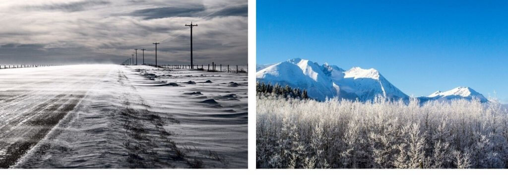Canada's Top Ten weather stories for 2019 shows a snowblown flatland and snowy mountains in the distance