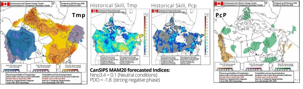 Maps showing seasonal outlook for temperature and precipitation for canada for spring 2020