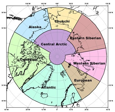map showing circumpolar regions
