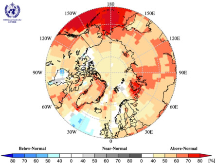 map of circumpolar Arctic regions showing temperature fluctuation from blue to red