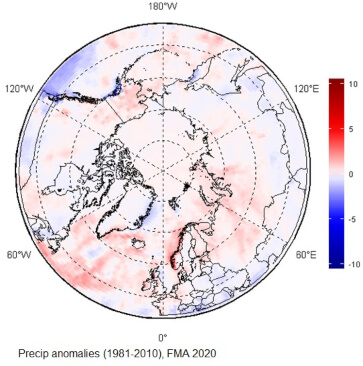 Map of circumpolar Arctic regions with mostly white, and some red and blue