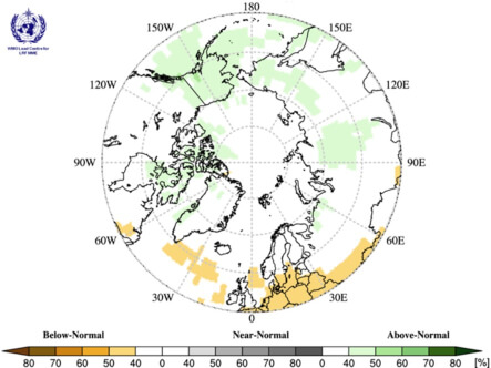 map centering the circumpolar Arctic regions with a colour scale from brown-yellow to green