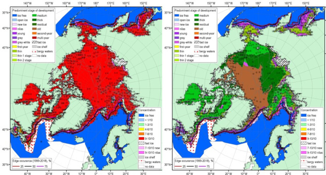 Two maps showing the circumpolar Arctic regions. On the left the terrestrial areas are mostly red and blue. On the right, they are greens, blue, and grown with purple.