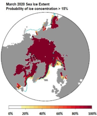 map of circumpolar Arctic with maroon showing the sea ice at 100%