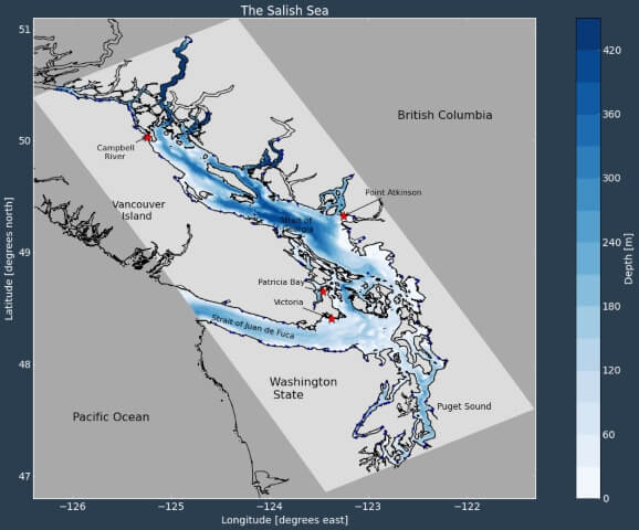 grey map showing Salish sea location with different ocean depths in blue