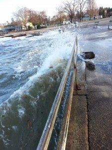 splash of a storm surge