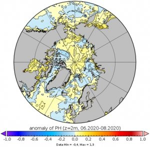 Map with polar view of sea ice