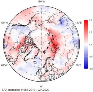 Map of circumpolar north with blue and red hues for temperature